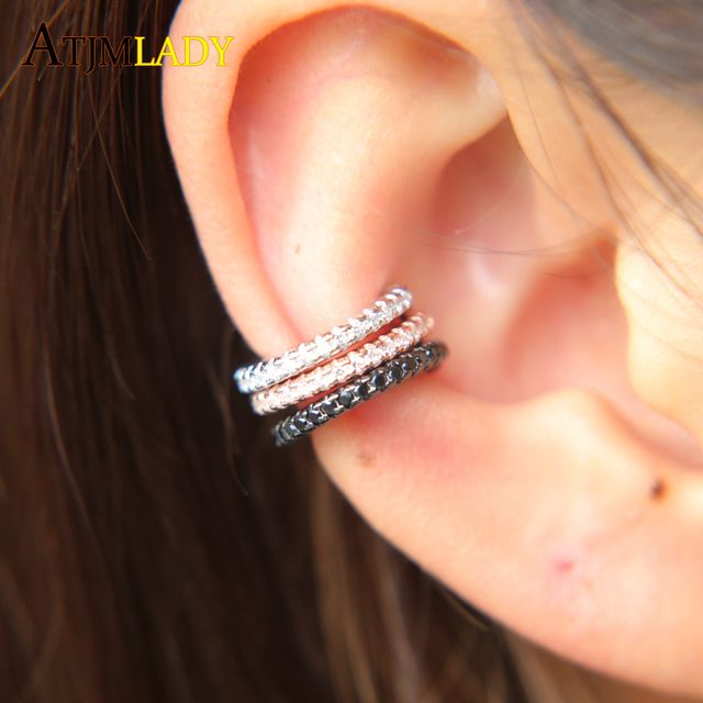 Ear Cuff micro pave cz circle cuff 925 sterling silver mix three color no pierced stack small sized little girl earring cuff