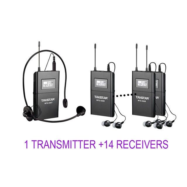 Takstar WTG-500/WTG 500 UHF Wireless Tour Guide System 1 Transmitter+14 Receivers for Tourist guide/Simultaneous interpretation