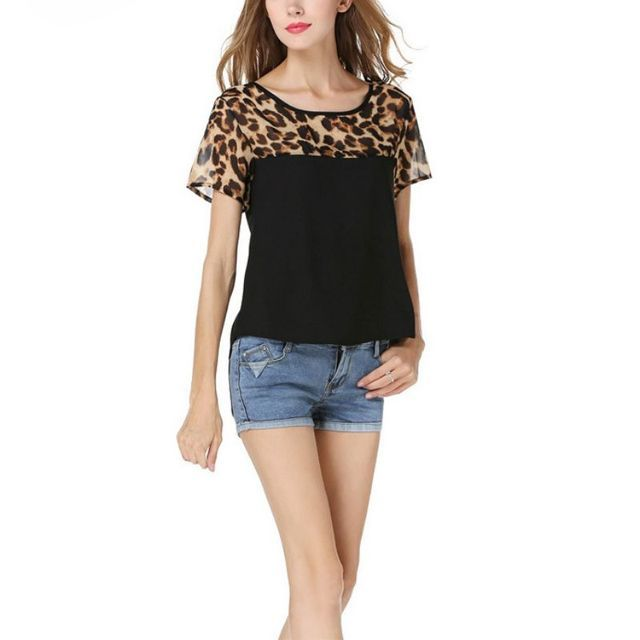 Summer  women Chiffon leopard Print Top Patchwork Casual Wear Short-sleeved Round Neck Blouses S-2XL