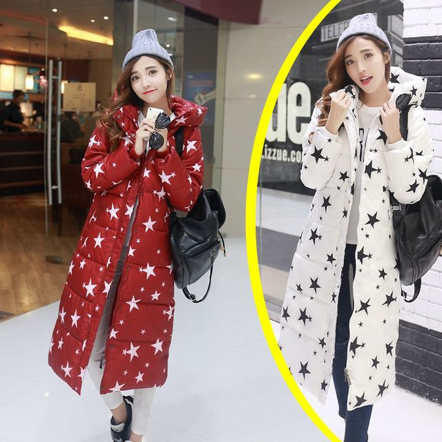 Winter down Cotton Jacket 2017 Fashion Women's Slim Stars Pattern Printed Parka Warm Long Section Jackets Hooded Overcoat
