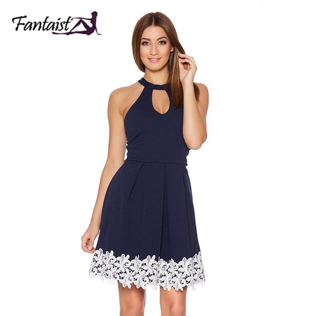 Fantaist Women's Summer Halter Neck Keyhole Lace Trim Pleated Cocktail Party Dresses Sleeveless Casual Mini Swing Skater Dress