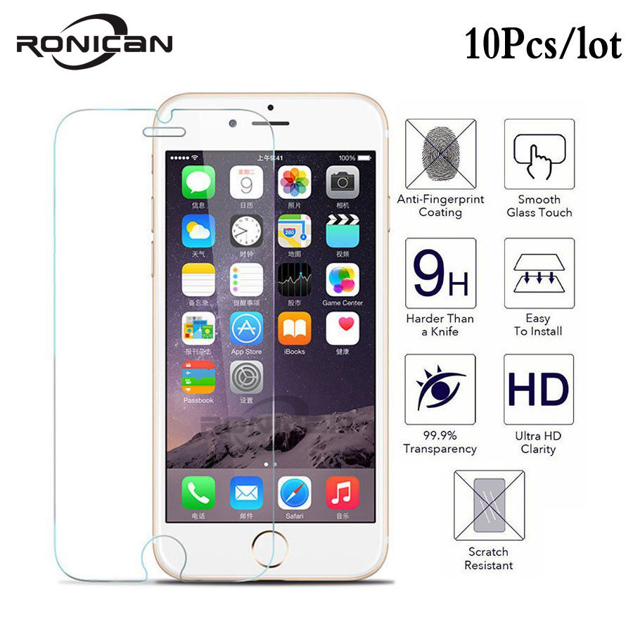 10Pcs Tempered Glass on iPhone 8 7 Plus 7 6 6s 5 5s 5c SE 4 4s X Explosion Proof screen protector Film for iphone X XS XR XS MAX