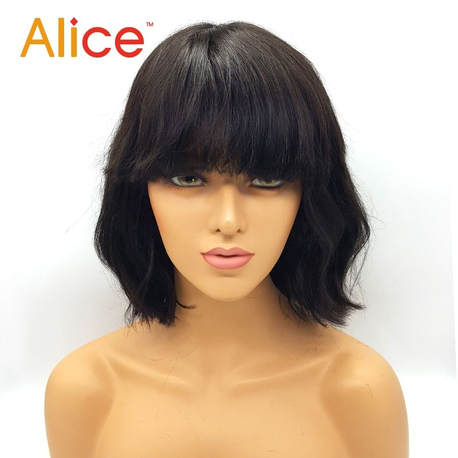 Alice Human Hair Wig With Bangs Brazilian Wet Wavy Human Wigs With Bangs None Lace Short Cut Bod Wigs For Black Women Human Hair