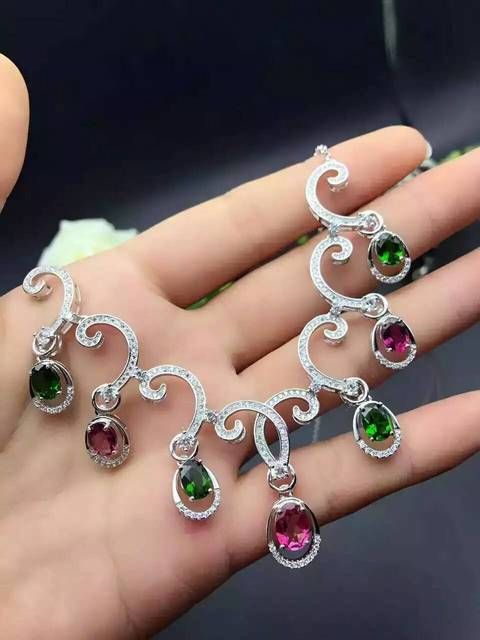Natural multicolor tourmaline Necklace natural gemstone Pendant Necklace S925 silver trendy personality clouds women Jewelry