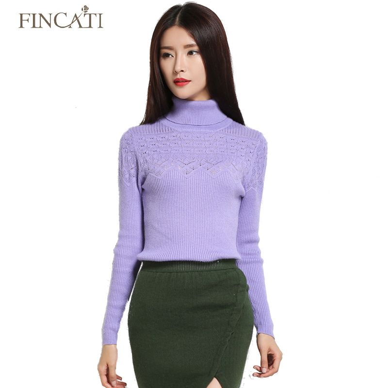 Autumn Winter High Quality Turtleneck Women's Hollow Out Floral Knitted Cashmere Woolen Sweater Jersey Femme Tops Pullover