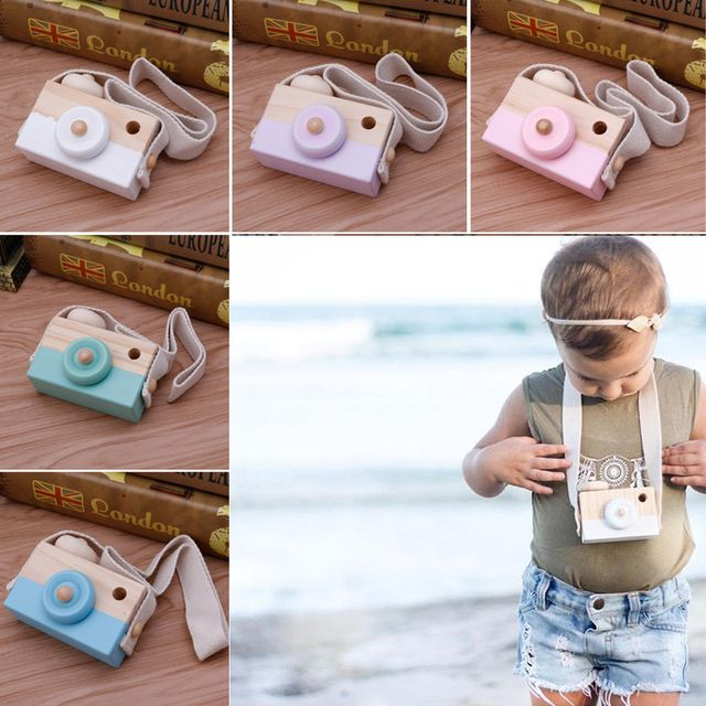 New Wooden Camera Toy Pillow With 5 Color For Kids In Children's Room And For Travel