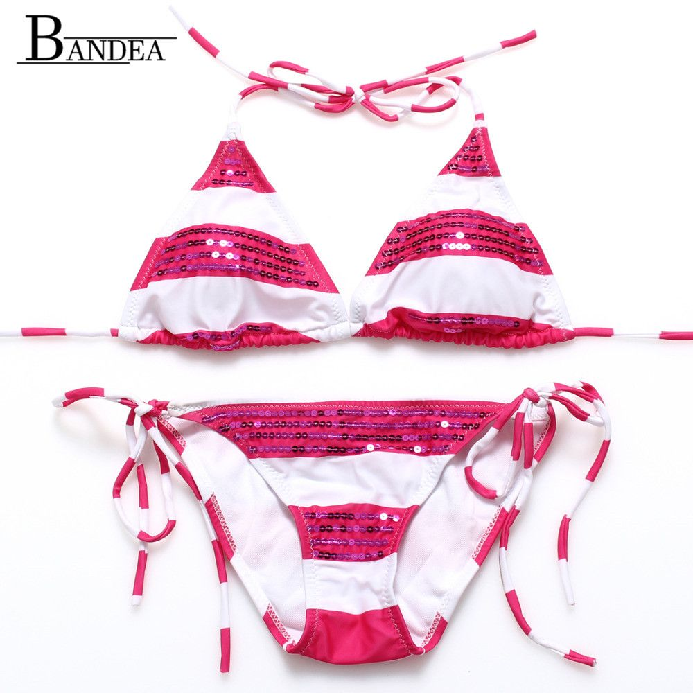2016 Cheapest Sexy Sequin Bikini Set For Women Top Halter Swimwear Striped Padded Swimsuit Bathing suit Drop Shipping