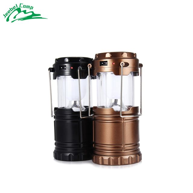 Tent Lights High Quality 6 LED Hand Lamp Rechargable Collapsible Solar Camping Lantern  for Outdoor Lighting black golden