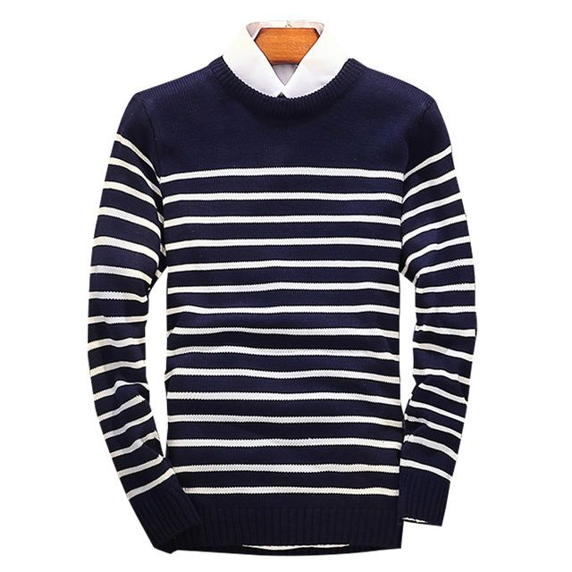 2016 Hot Sale Autumn Mens Sweaters Fashion Long Sleeve Striped Men Pullover Casual White Navy Sweater Men Size M-2XL