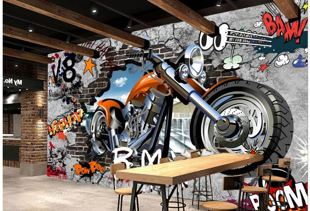 Home Decoration wallpaper for painting Motorcycle street art graffiti 3d murals wallpaper for living room