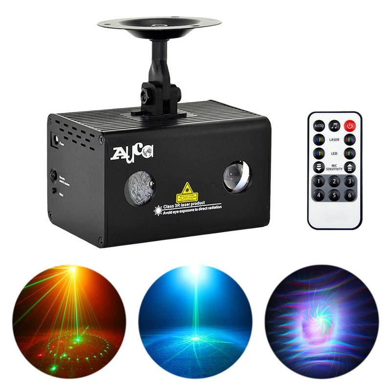 AUCD Mini 9 Gobos RG Water Galaxy Laser Mix Aurora RGB LED Projector Sound Auto Stage Lighting DJ Xmas Home Party Show LL-09RG