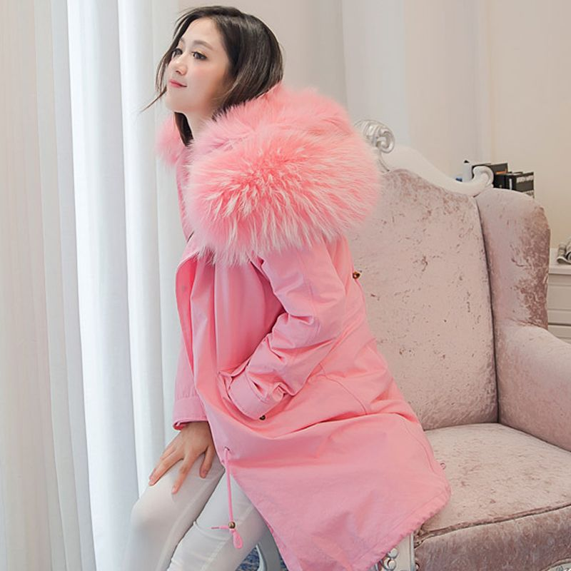 Winter Coat Women 2018 Real Fox Fur Linner Down Parka With Large Natural Raccoon Fur Collar Womens Winter Jackets And Coats
