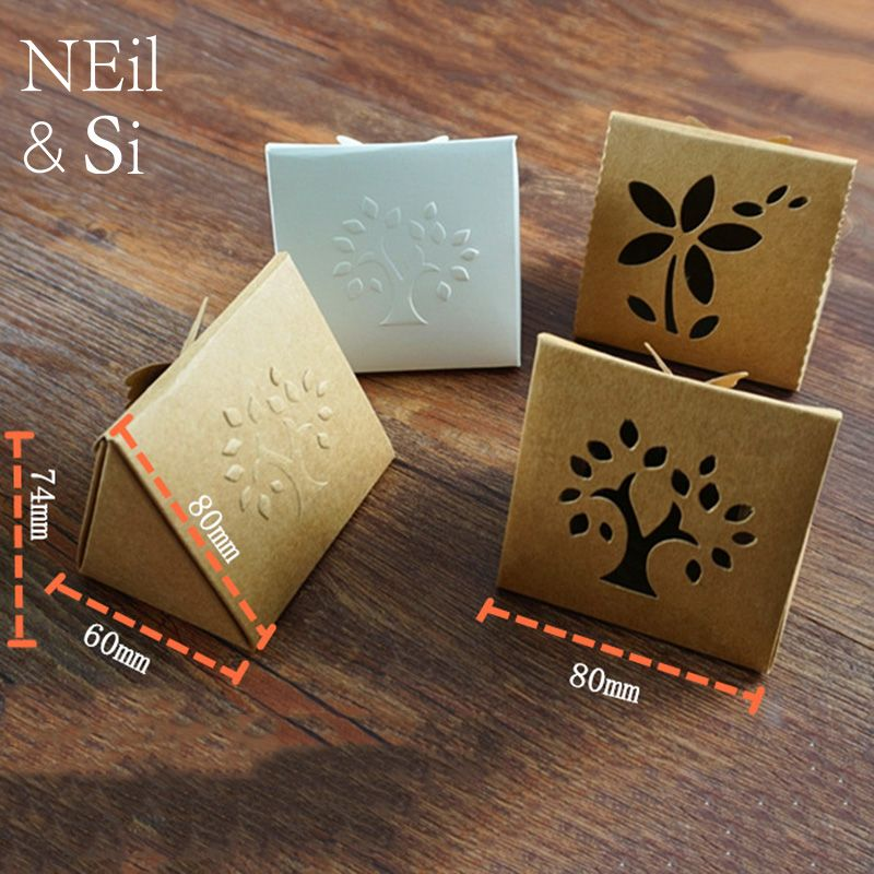 Kraft Paper Hollow Box Butterfly knot closure Gift Handmade Soap Package Window Boxes Emboss Tree Flower Free Shipping