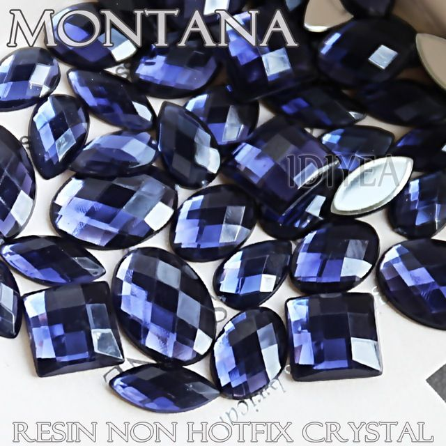 100Pcs/Lot Mix Sizes Shapes Montana Big Rhinestones square heart oval horse eye star drop Resin Non Hotfix Flat back Crystal