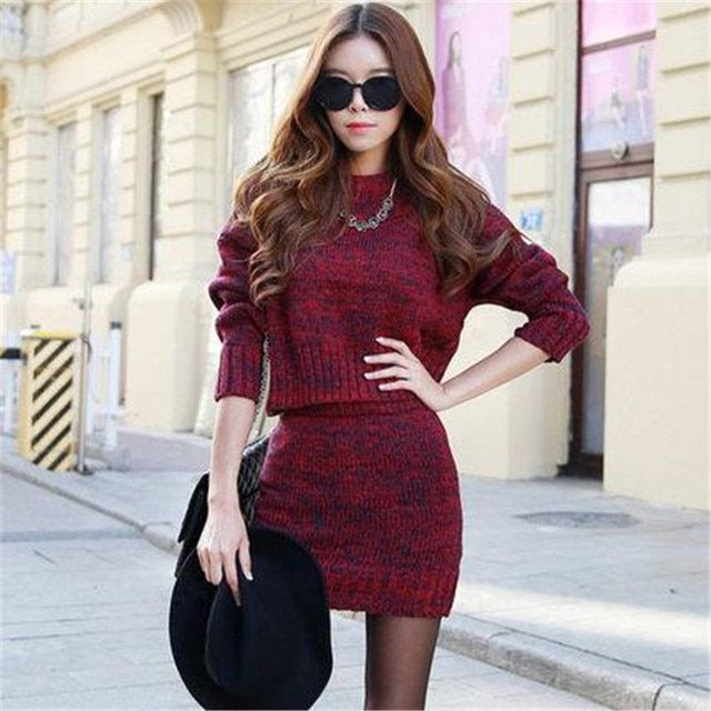 Euope 2016 Fashion Women Sweater And Skirt Set Spring Autumn Tops+Short Skirts Slim Long Sleeve Knitted Suits Twinset A1061