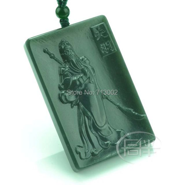 Nature gray jade Pendant Amulet Carven GuanYu Talisman Necklace @@@
