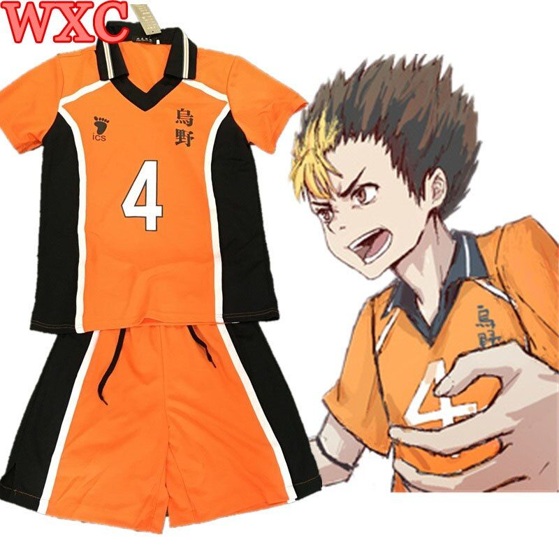 Haikyuu Nishinoya Yuu Cosplay Karasuno High School Uniform Jersey Cosplay Costume Number 4 T-shirt and Pants WXC