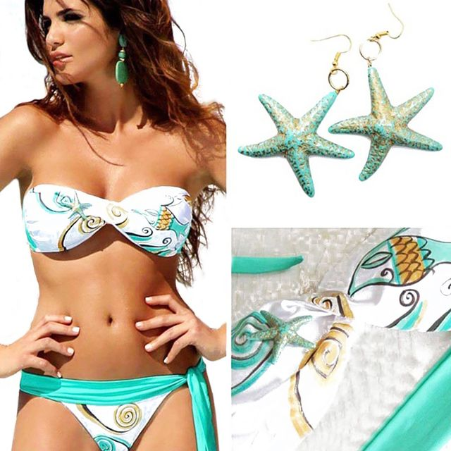 2017 Women Trendy Lace-up Padded Bra+Low Elastic Waist Side Tiedown Briefs Starfish Print Patchwork Bikini Set Swimsuit