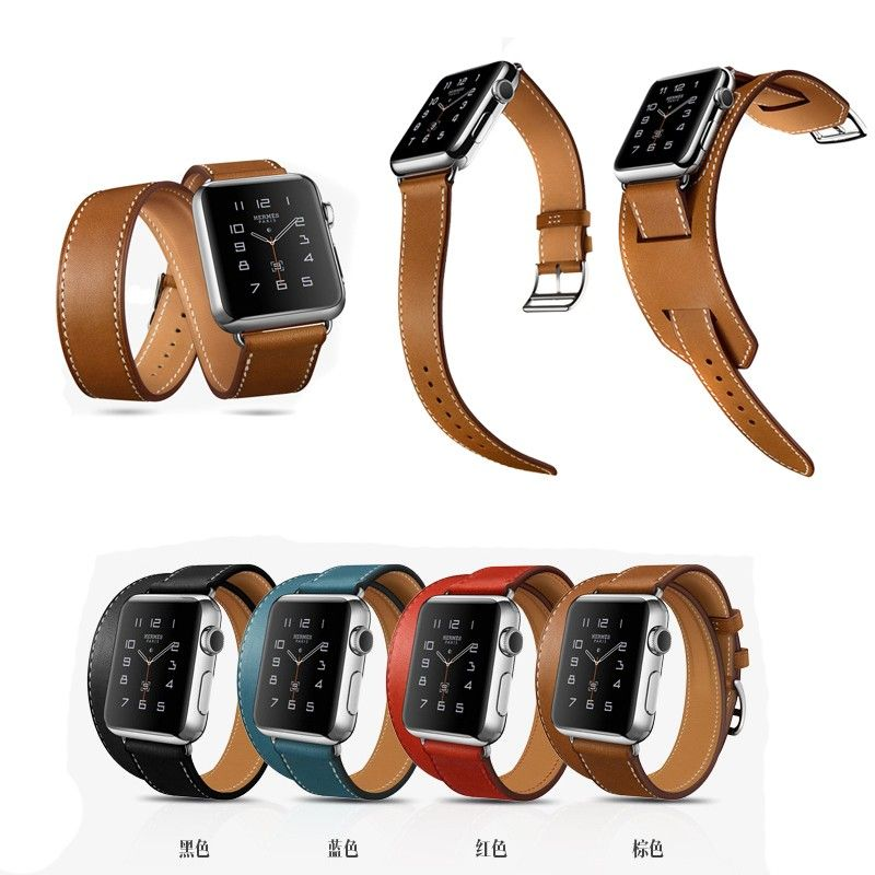 In Stock Super Luxury HOCO 3 in 1 Double Tour+Cuff Genuine Leather Watch Band For Apple Watch All Models