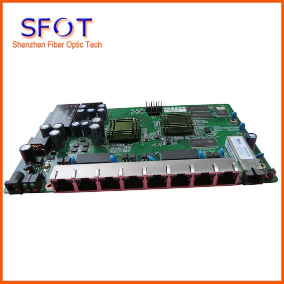 PCB board PD with 8 ethernet ports, reverse POE optical network EPON ONU, 8 ports PCB card
