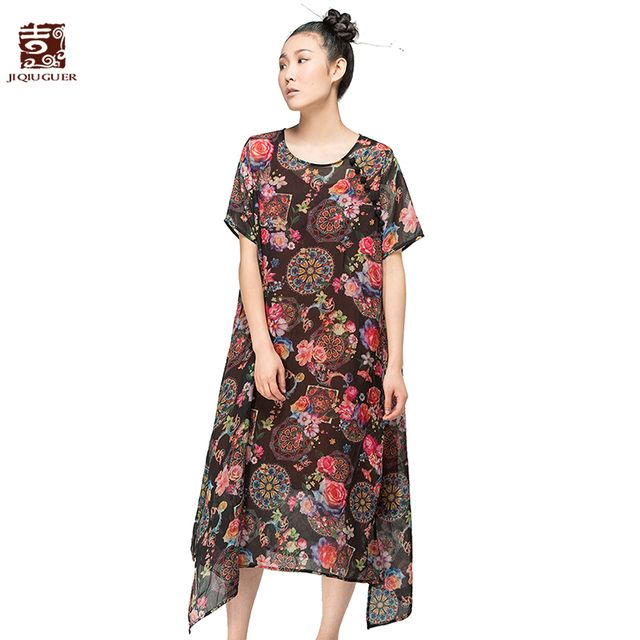Jiqiuguer National trend women's lagenlook dresses short-sleeve o-neck print one-piece dress medium-long dresses G152Y030