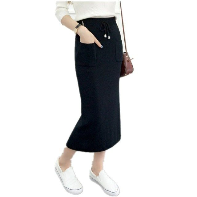 After 2016 new autumn and winter bust skirt solid color Slim thin long section solid knit skirt pendulum split skirt
