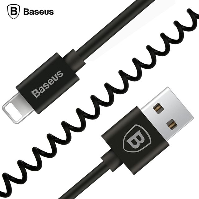 Baseus Flexible Elastic Stretch USB Cable Data Sync Charging Spring Cable For iPhone X 8 7 6 6S 5 5s SE iPad Mobile Phone Cable