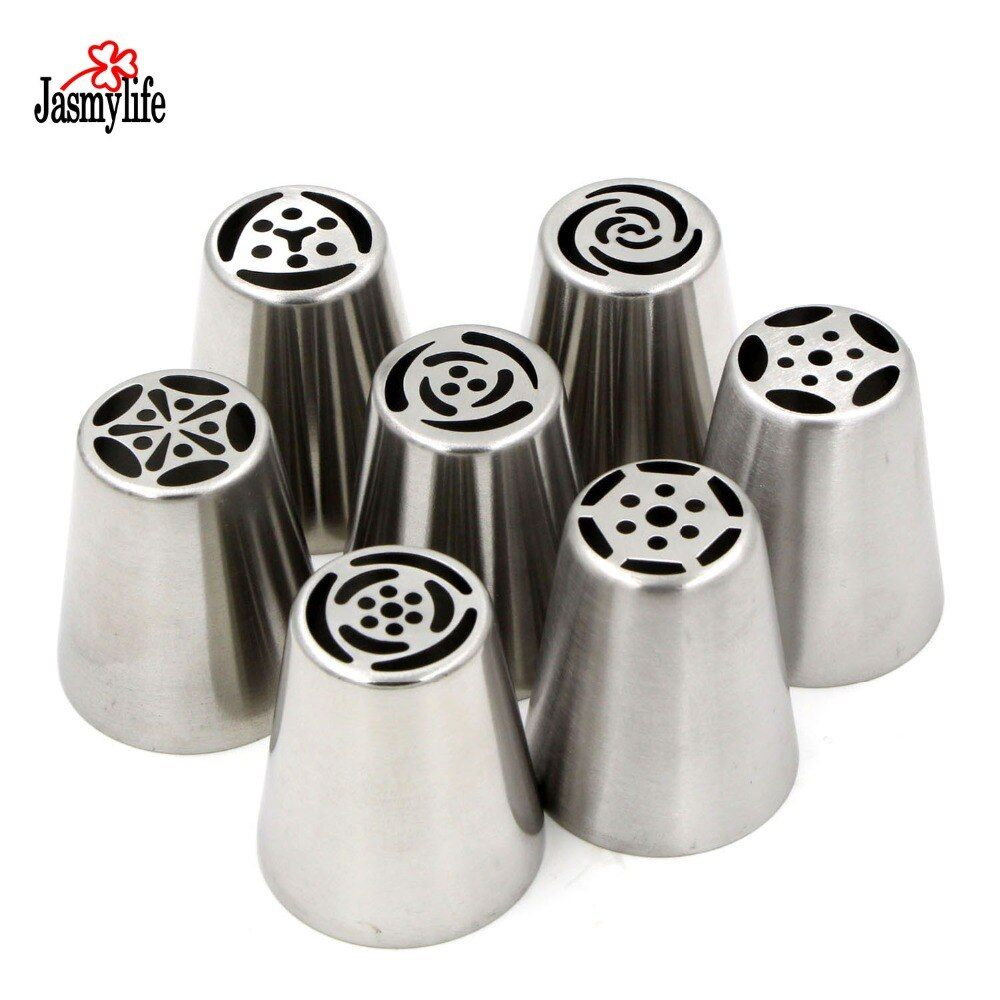 7PCS Pastry Tips Set  Stainless Steel Russian Tulip Nozzles Fondant Icing Piping Tubes Cake Decorating Tools Rose Flower Shaped