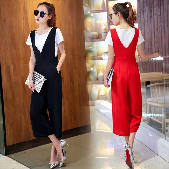 2017 Summer Casual Elegant High Grade Rompers Womens Jumpsuit High Waist Cotton Black Red Elegant Jumpsuit One Piece Plus Size