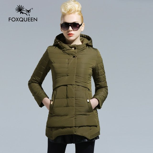 Foxqueen 2016 New Arrival Spring Long Coat Women Bomber Jacket Thin Cotton Padded Fashion Outwear Ladies' Warm Clothing