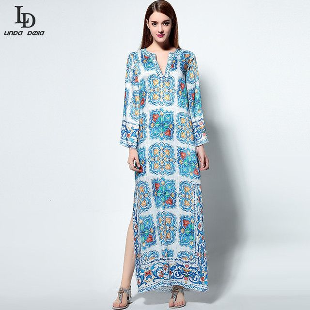High Quality New Fashion 2016 Runway Boho Beach Dress Women's Long Sleeve Noble Beading Casual Floral Print Maxi Long Dress