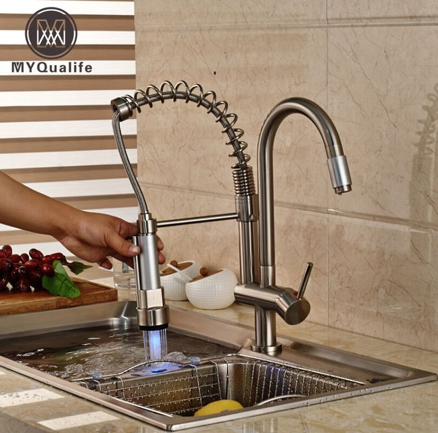 Luxury LED Color Changing Kitchen Sink Faucet Nickel Brushed Double Sprayer Spring Mixer Tap Hot Cold Water