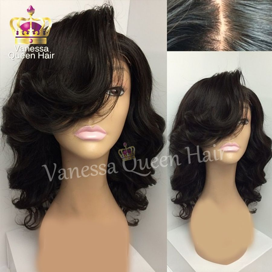 Cheap short wavy wigs synthetic lace front wig for black women glueless synthetic lace front wig heat resistant hair no lace wig