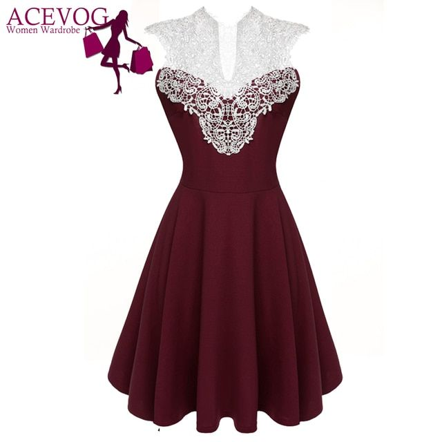ACEVOG Women Summer Lace Dress Sexy vestidos 2017 Lady Sleeveless Lace Patchwork High Waist Pleated Casual Knee Length Dress