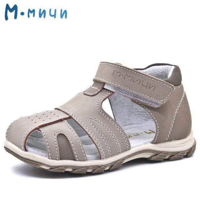 Mmnun 2018 New Summer Beach Kids Shoes Breathable Soft Genuine Leather Closed Toe Sandals for Boys Toddler Sandals Size 26-31