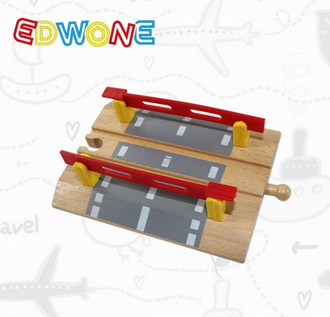 Railroad Crossing Intersection Thomas Wooden Train Slot Track Railway Accessories Original Toy For Kids Gifts-EDWONE