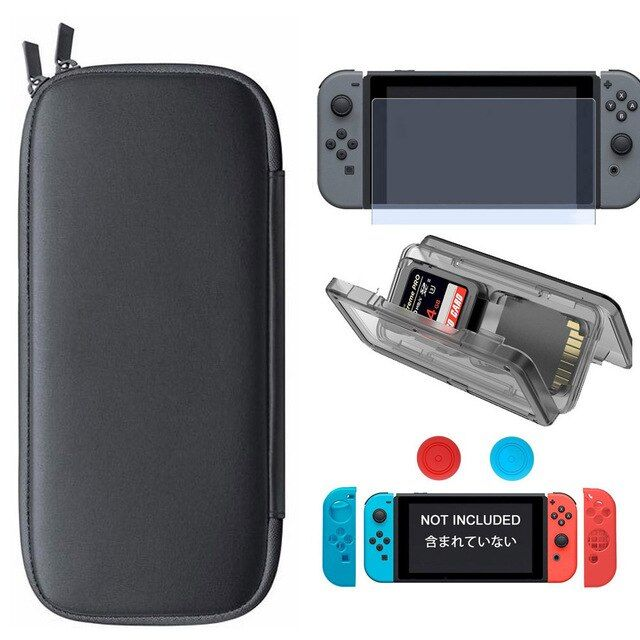 5 in 1 Travel Case and Controller Silicone Case Thumb Stick Cap and Tempered Glass Screen and Card  Case  for Nintend Switch