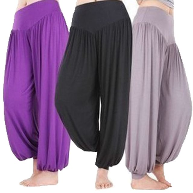 Women Belly dance Yoga Long Trousers Pleated Capris Soft Loose Bloomers Wide Leg Pants Fitness Harem Pants Men's Trousers S-5XL