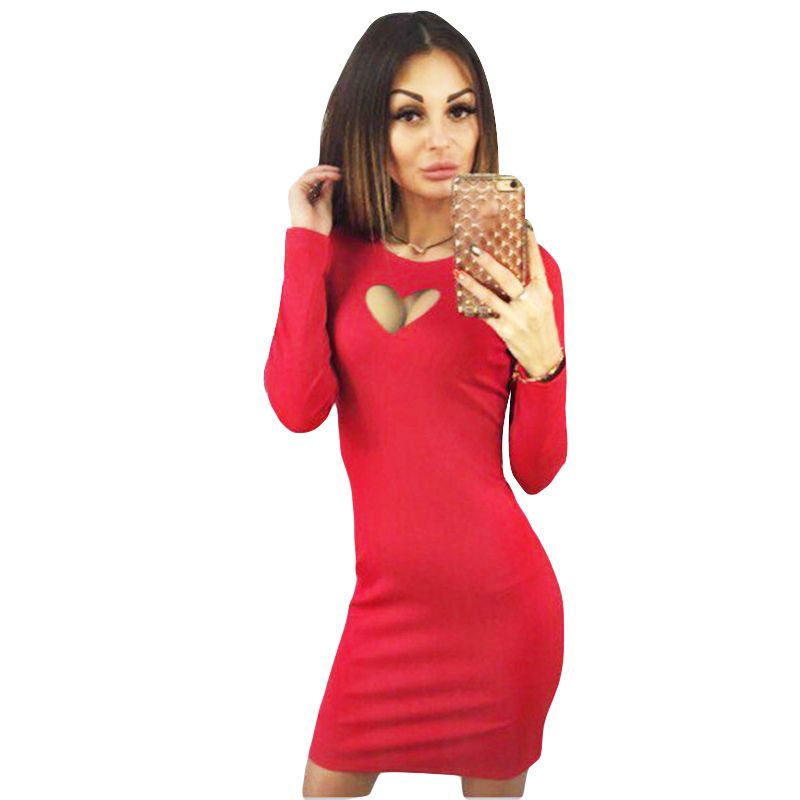 Women Long Sleeve Dress Bodycon Mini Dress Love Heart Cut Out Front Keyhole Sexy Club Dress High Quality Women Fashion 2017
