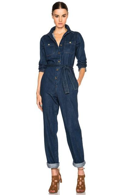 2016 Womens Long Sleeves And Elastic Cuffs Belted Waist Pocket Denim Jumpsuit Fold-over Denim Cotton Blue Jumpsuit