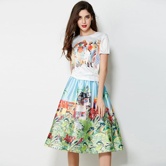 Street Set Fashion  2015 Summer New Bohemian Style Short Sleeve Character Print Top+Scenery Fluffy Skirt Twinset Women
