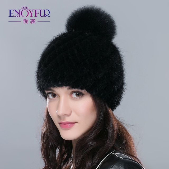 Hot sale real mink fur hat for women winter knitted mink fur beanies cap with fox fur pom poms 2017 brand new thick  female cap