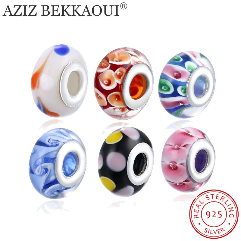 European Style Murano Glass Spot Beads Fit DIY Bracelet 925 Sterling Silver Beads for Jewelry Making Sterling-silver-jewelry