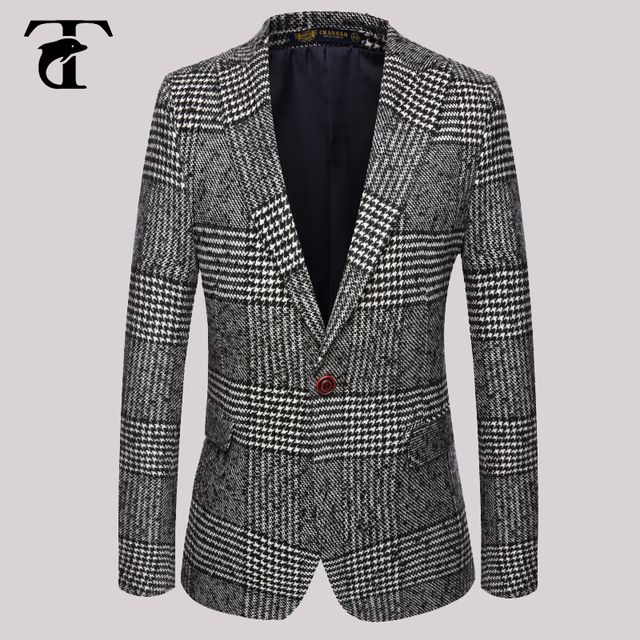 2016 Wool Winter Coat Men's Single Breasted Slim Fit Design Groom Wedding Tuxedo Suit Mens Plaid Blazers