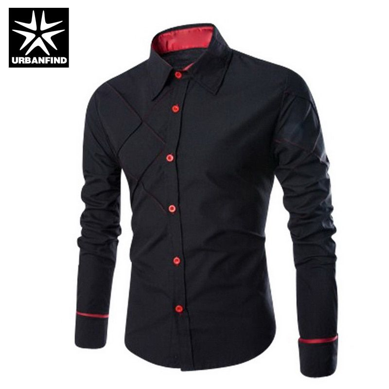 URBANFIND Slim Fit Men Fashion Dress Shirts Plus Size M-3XL Black / White / Red Business Man Casual Cotton Long Sleeve Shirt