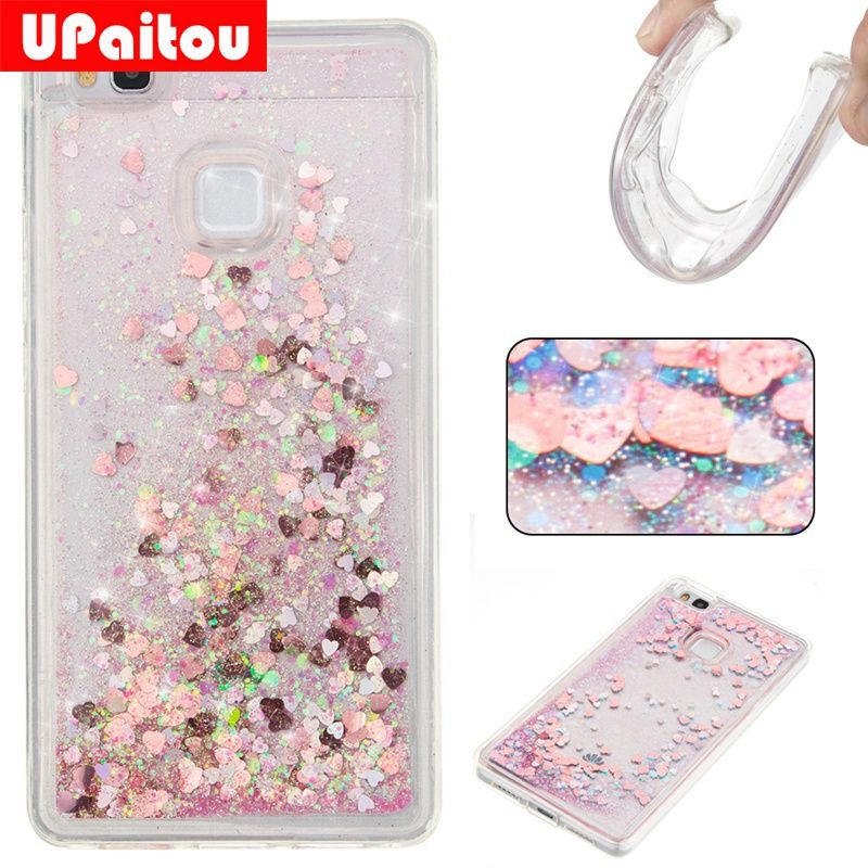 UPaitou Dynamic Liquid Glitter Cases for Huawei P9 Lite/G9 Lite Quicksand Soft TPU Cases for Huawei VNS-L21 VNS-L23 Back Cover
