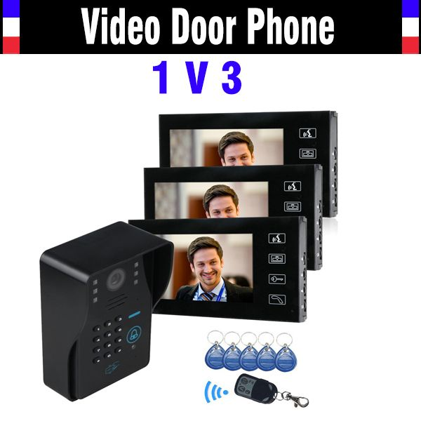 "7"" LCD Touch Key Video Door Phone Intercom System with IR Camera & Code Keypad RFID Access Control Video Doobell kit"