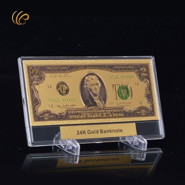 24k Gold Banknote Gold Foil Plated Artwork Gift Paper Money Copy Bank Note USD 2 Dollar Banknote with Display Stand