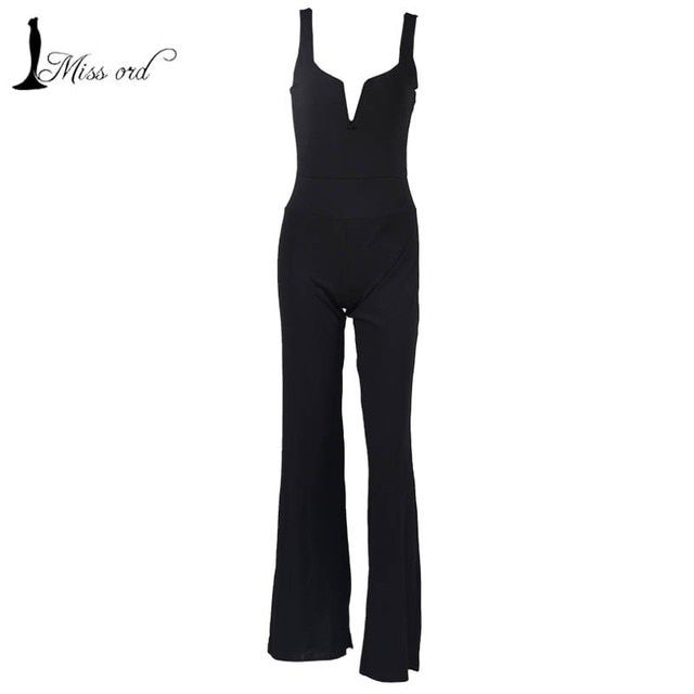 free shipping .2016 Sexy v-neck straps black color  jumpsuits  FT2563