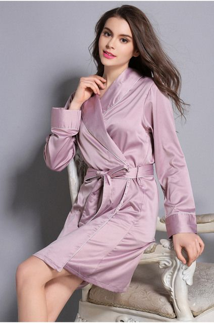 Kimonos Women Sexy Nightwear Faux Silk Robe With Sashes Lace Splicing Satin Long Sleeves Bathrobe Ladies Spring Nightwear Robes